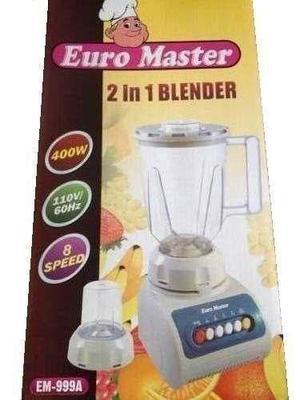 Licuadora Euro Master Con Pica Todo 2 En 1 Vaso De Plastico