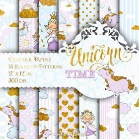 Kit Imprimible Fondos Princesa Unicornios Dorado Escarchados