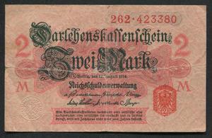 Billete Alemania imperial 2 marcos , circ. GGGS ALE