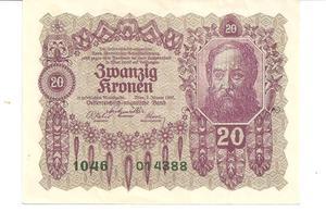 Billete Austriaco de 20 Coronas Año