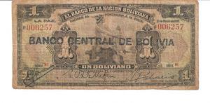 Billete de Bolivia un Boliviano Año