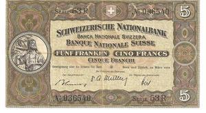 Billete del año  de 5 Francos