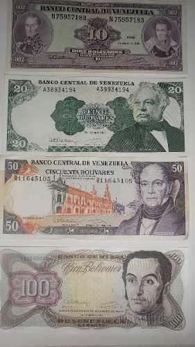 Billetes Antiguos De Venezuela Combo De 4 Unidades Año