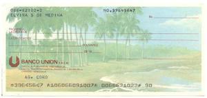 Cheque Coleccion Bco Unión Paisajes De Venezuela: Playa