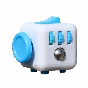 Cubo Antiestres Ansiedad Fidget Cube Blanco Con Azul Celeste