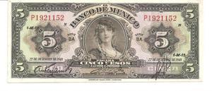 En venta Billete de 5 Pesos Año
