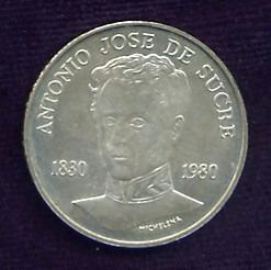 Moneda De Plata. Antonio José De Sucre. Ley