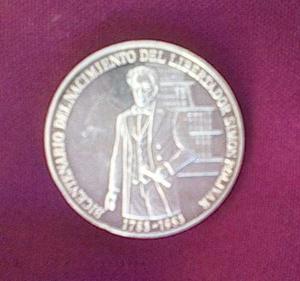 Moneda De Plata Bicentenario Del Nacimiento Del Libertador