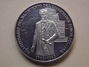 Moneda Plata Del Bicentenario Del Libertador Simon Bolivar