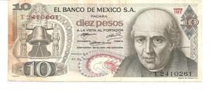 Vendo Billete de 10 Pesos del Año