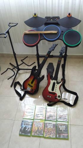 Batería Xbox + Guitarras + 8 Juegos