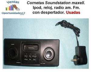 Cornetas Soundstation Maxell Para Ipod Con Reloj Y Radio