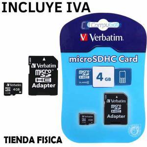 Tarjeta De Memoria Micro Sd 4gb Verbatim Con Adaptador Clas4