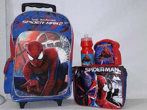 Maleta Con Ruedas Bolso Morral Spiderman Hombre Araña