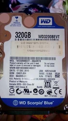 Disco Duro Sata Para Laptop De 320 Gb Marca Western Digital