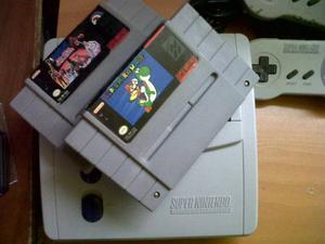 Super Nintendo Con Super Mario World Y Nba All Star 2 Contro