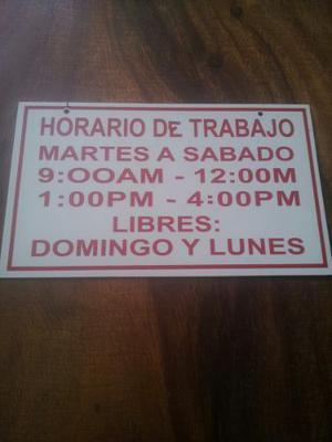 Letrero Horario De Trabajo En Vinil