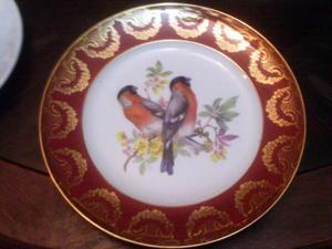 Plato De Porcelana Color Blanco Con Borde En Rojo Y Oro En P