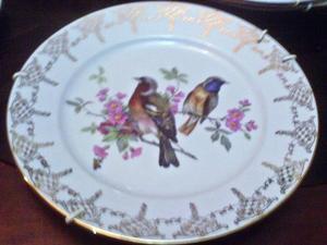 Plato De Porcelana Marca Gloria Western Germany Con Oro En P