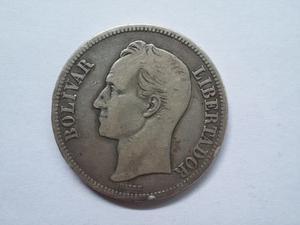 Moneda De Plata De 5 Bolívares  Gram 25 Ley 900