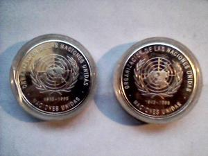 Monedas De Plata Ley  Aniversario Naciones Unidas