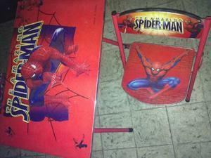 Juego De Mesa Y Silla Infantil De Spiderman, En Buen Estado!