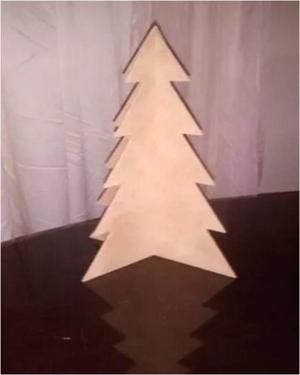 Arbolito De Navidad Mdf Crudo 40cm De Altura