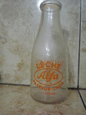Botella De Colección Leche Alfa De Vidrio
