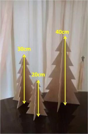 Juego De Tres Arbolitos Navidad Mdf Crudo 40cm, 30cm Y 20cm