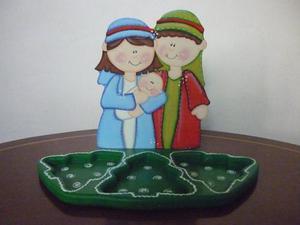 Natividad Pasapalera Azul Y Verde En Mdf