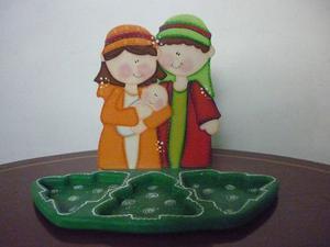 Natividad Pasapalera Naranja Y Verde En Mdf