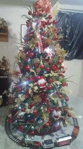 Árbol De Navidad Decorado + Tren +nacimiento +espíritu