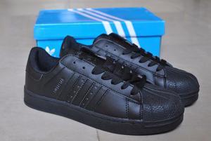 Kp3 Zapatos Adidas Superstar Todo Negro All Black Juveniles