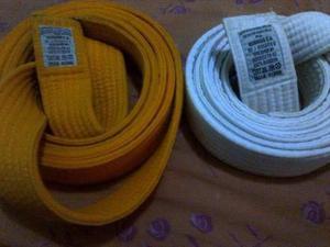 Cinta De Karate Marca Bushido Azul,amarilla Y Naranja