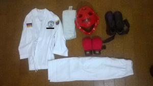 Kimono Karate Do Con Combo Guantes, Casco Y Zapatillas