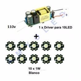 10 Diodos Led 1w Blanco100 Lm Con Disipador + Driver 110v!