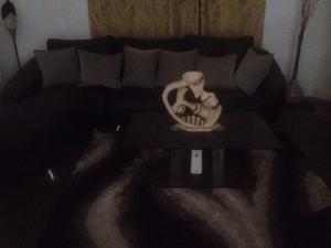 Juego De Muebles Modulares Negros Para Sala + Mesa