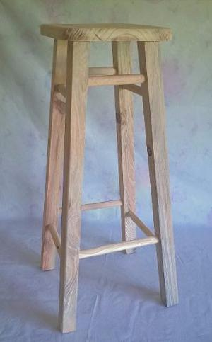Taburetes o bancos de madera con espaldar de 90cm posot for Sillas altas para barra