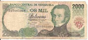Billete De  Bolívares Febrero 10 De  D8