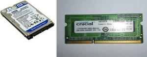 Memoria Ram Ddr3 2gb Y Disco Duro Para Laptop De 320gb Sata