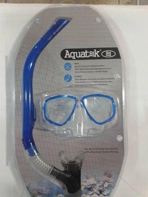 Careta Y Snorkel Aquatek Profesional Con Válvula Elite
