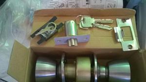 Cerradura De Pomo Con 3 Llaves Acero Inox