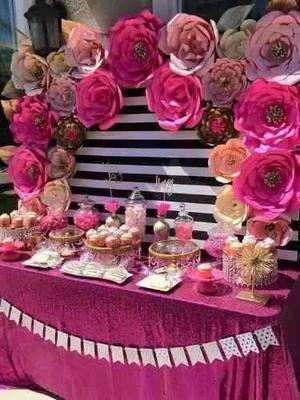 Combo De 6 Flores Papel Para Boda Fiesta Candy Bar Bautizos