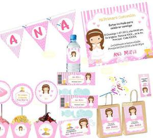 Kit Imprimible Primera Comunión Candy Bar Personalizado