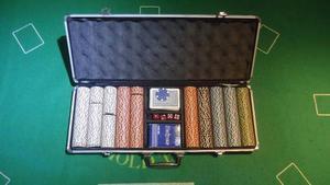 Maletín De Poker Profesional De 500 Fichas + Tela Para