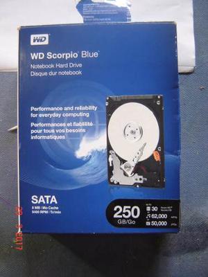Disco Duro Wd Scorpio Blue 250gb, 8mb/rpm