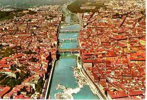 Postal Vista Aerea De Florencia Italia Vintage 70´s