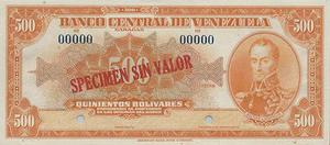 especimen de  billetes de 100 y paca de 10 bolivares