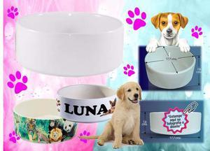 Plato Tazón De Mascotas Para Sublimar En Cerámica