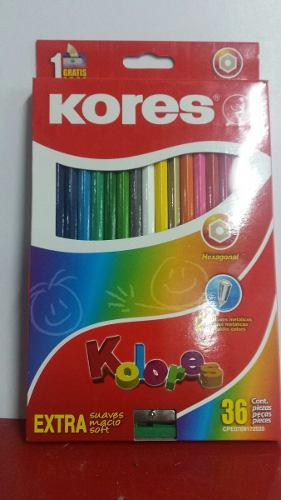 Colores Kores De 36 Con Sacapunta Hexagonales